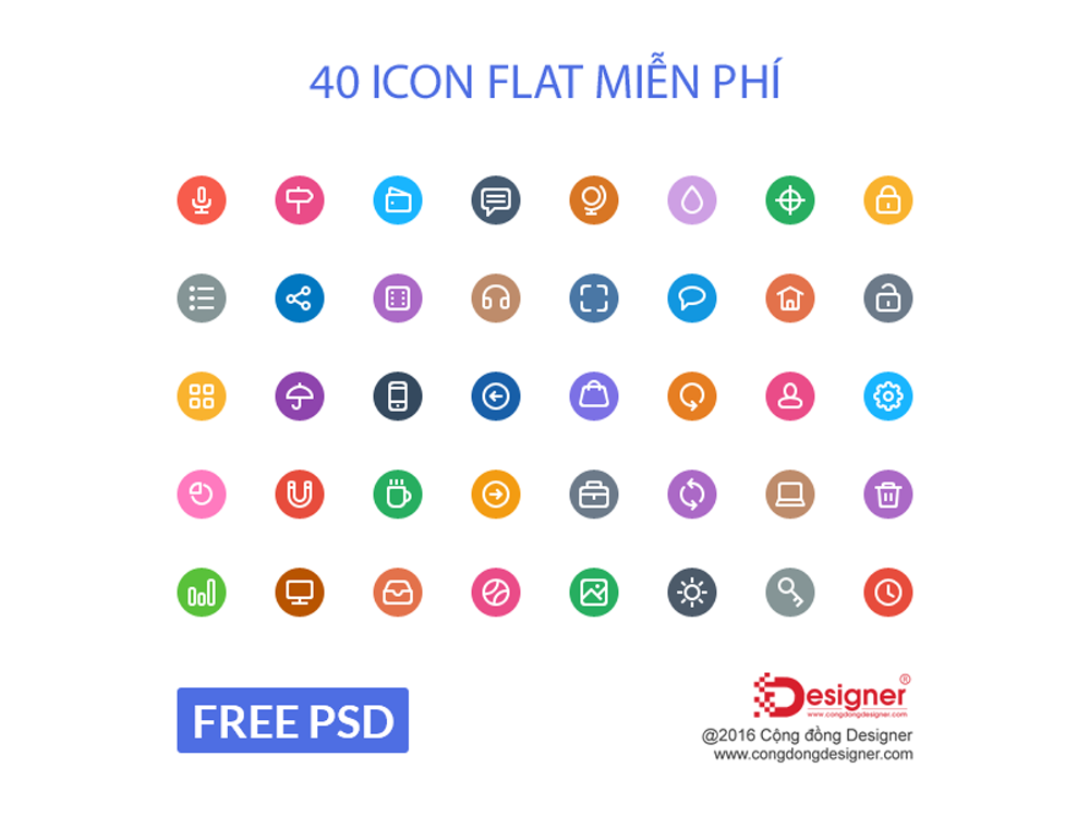 Flat PSD Photoshop Icon Template #54