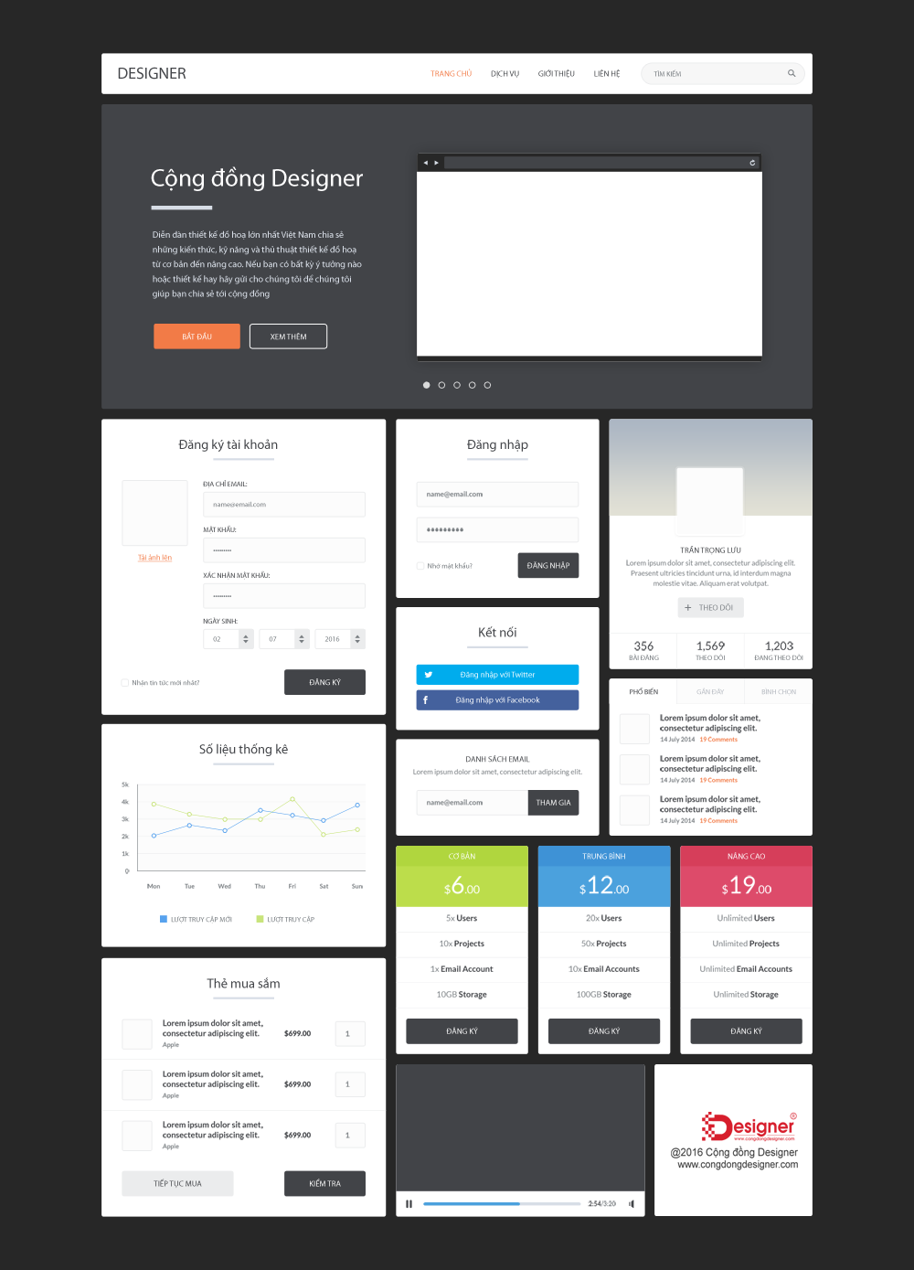 Flat Landing Page PSD Template #23