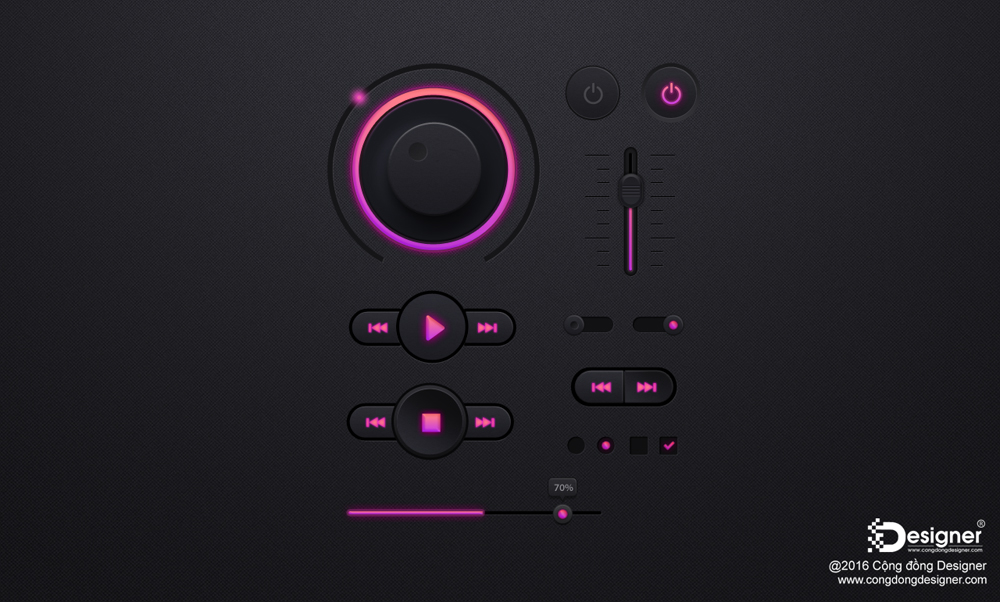Mẫu Music button Templates PSD #42