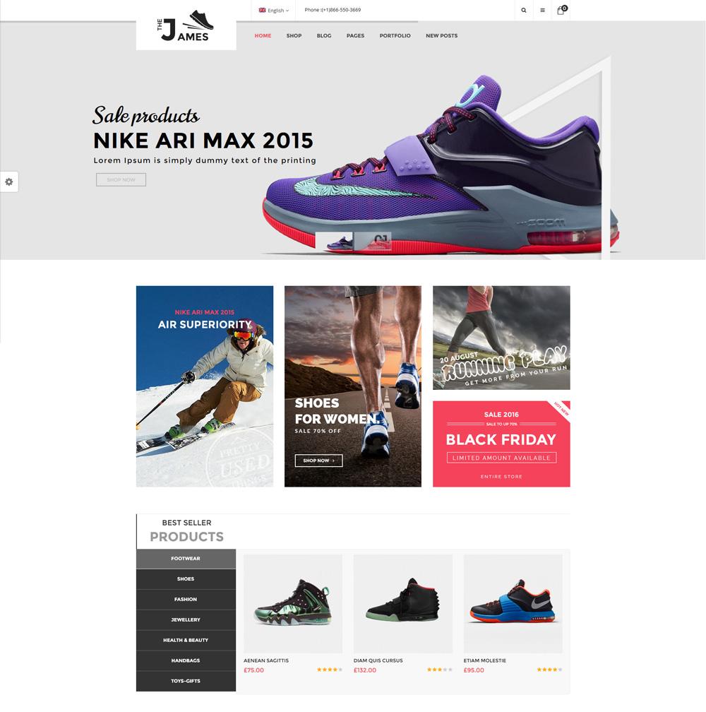 mẫu website bán giày dép