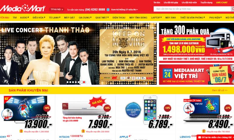 Mẫu website bán hàng đẹp nhất năm 2016