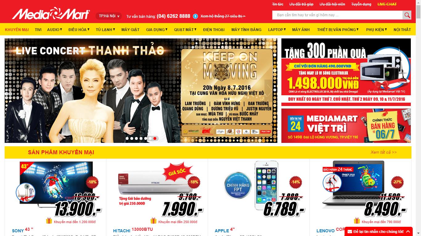 Mẫu giao diện website hệ thống siêu thị điện máy MediaMart