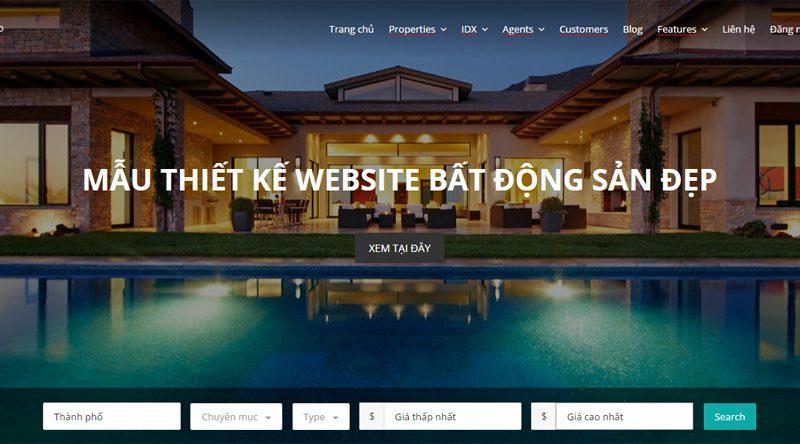 Mẫu website mua bán nhà đất, bất động sản chuyên nghiệp