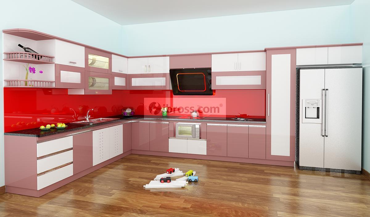 Ấn tượng với tủ bếp PVC phủ Acrylic đẹp lung linh